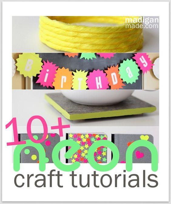 Over 10 easy neon craft tutorials