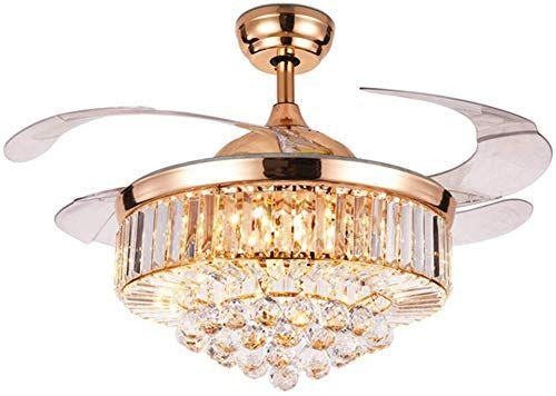 Enjoy Exclusive For Fandian 42 Crystal Ceiling Fan Light Luxury Chandelier Remote Control 3 Speeds 3 Color Changes Retractable Acrylic Blades Lighting Fixtures In 2020 Ceiling Fan With Light Fan Light Ceiling Fan