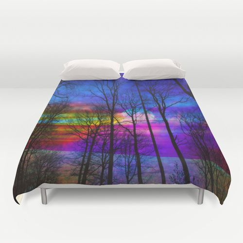 Moon Duvet Cover #duvet cover #moon #space #universe #nature #forest #colorful #magical #purple #bedding #homedecor #home decor #decoration #blanket #beauty #fantasy #custom design #society6