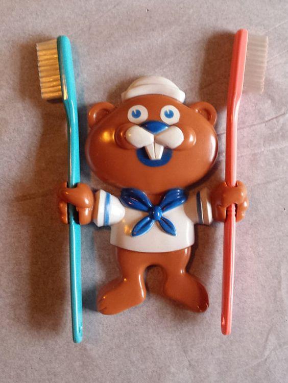 Vintage Avon Barney Beaver Toothbrush Holder by FireroseEclectics