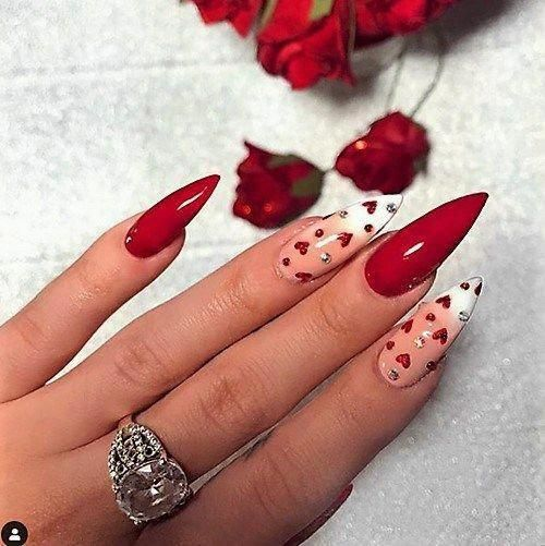 Valentines Day Nail Designs To Fall In Love With Moosie Blue In 2020 Stiletto Nails Designs Valentine S Day Nail Designs Nail Designs Valentines