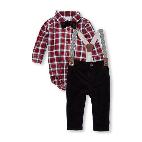 UK Baby Boy Newborn Christmas Clothe Plaid Romper Pant Bowtie Outfit 3PCS Set
