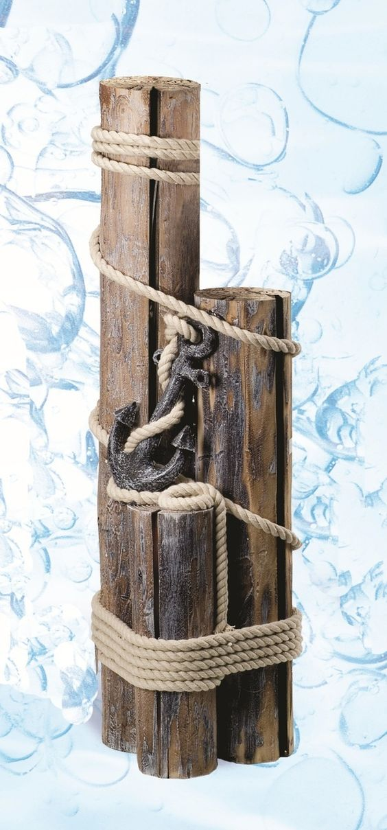 Decorative nautical pilings with rope and anchor shelf ideas backyards and beaches - Nautical rope decorating ideas ...