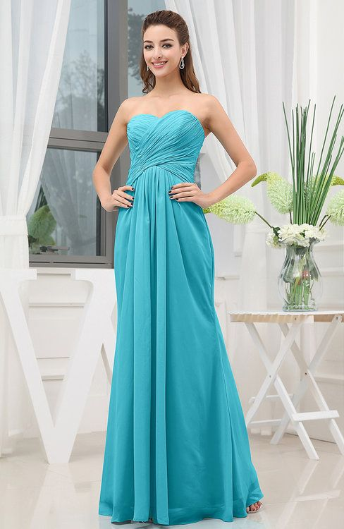 Teal Cute A-line Sweetheart Chiffon Floor Length Ruching Bridesmaid Dresses