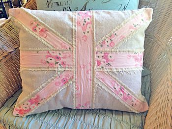 Shabby chic union jack pillow from French Charmed; pretty sophistication Shabby French Cottage ...