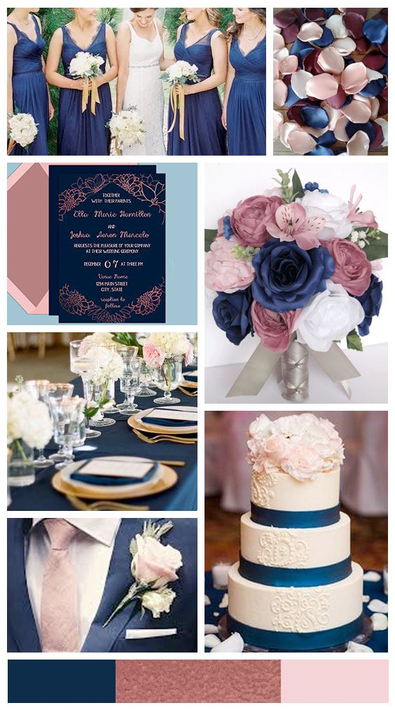 Get The Look Navy And Rose Gold Wedding Inspiration Rose Gold Wedding Inspiration Rose Gold Wedding Decor Wedding Rose Gold Theme