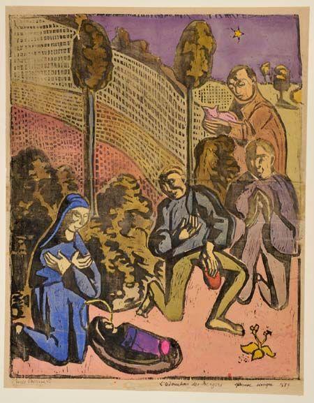 Émile Bernard, L'Adoration des bergers, 1889, gravure sur bois colorée à…