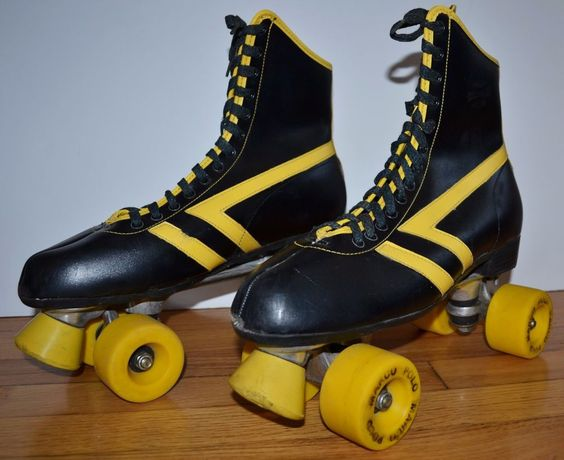 Vintage 1970's Marco Polo Roller Skates Men's Size 12 Derby Black & Yellow…