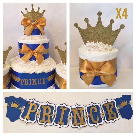 Prince Baby Shower Party Package in Royal Blue and Gold, Prince Theme Baby Shower Decorations, Centerpiece by AllDiaperCakes on Etsy https://www.etsy.com/listing/261952740/prince-baby-shower-party-package-in
