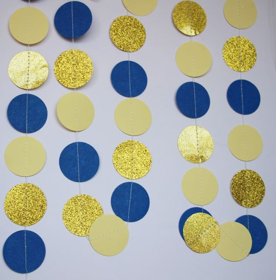 Image result for navy blue and yellow party decor