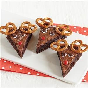Brownie Reindeer: Christmas Food, Cookies Bars Cupcakes, Christmas Cookies, Cookies Desserts, Holiday Food, Reindeer Brownie, Christmas Treats, Christmas Ideas