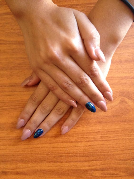 Nude aquamarine nail design