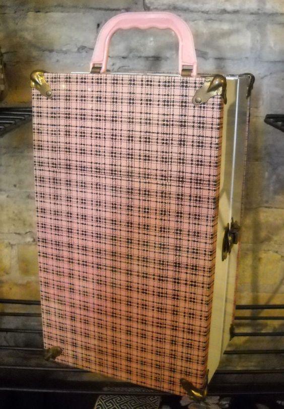 Vintage Metal Covered Doll Case Pink Plaid