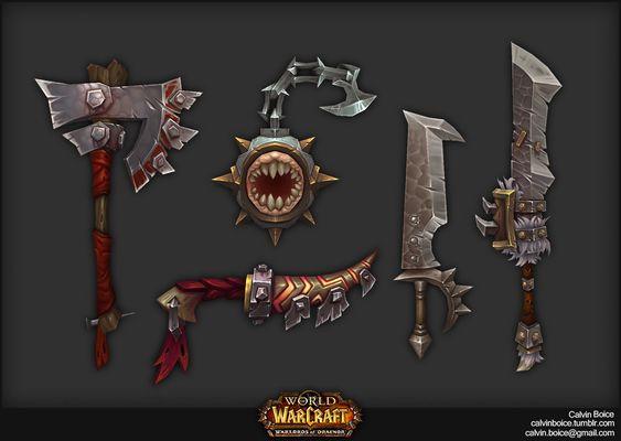 Warlords of Draenor Weapons, Calvin Boice on ArtStation at https://www.artstation.com/artwork/warlords-of-draenor-weapons
