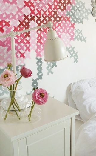 very sweet, reminds me of my mom and learning embroidery from her as a child. DIY wall art inspiration: painted cross stitch!
