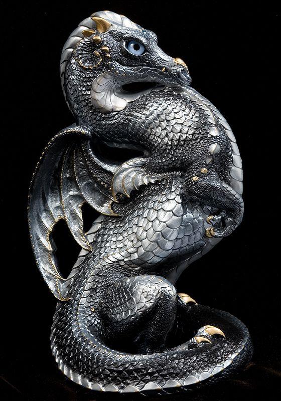 Emperor Dragon - Silver. Airbrushed and Handpainted Fantasy Figurine, Statue. $344.00 #dragon #fantasyart #figurine