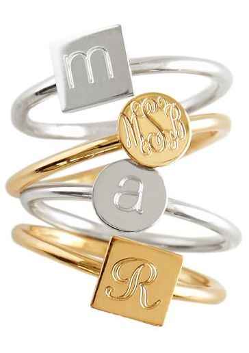 monogrammed silver and gold rings
