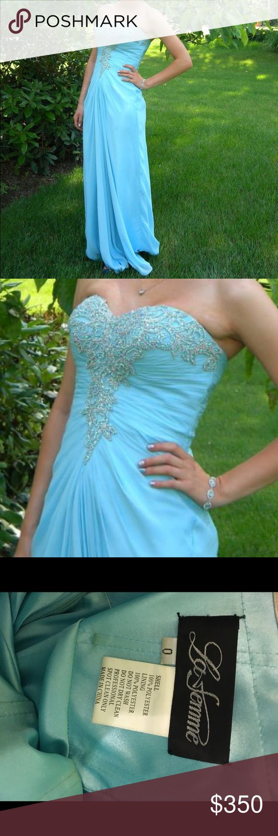 Embellished prom dress! Light blue embellished prom dress! Only worn once!! Size 0 with A/B cups! Gorgeous detail on the front! La Femme Dresses Prom
