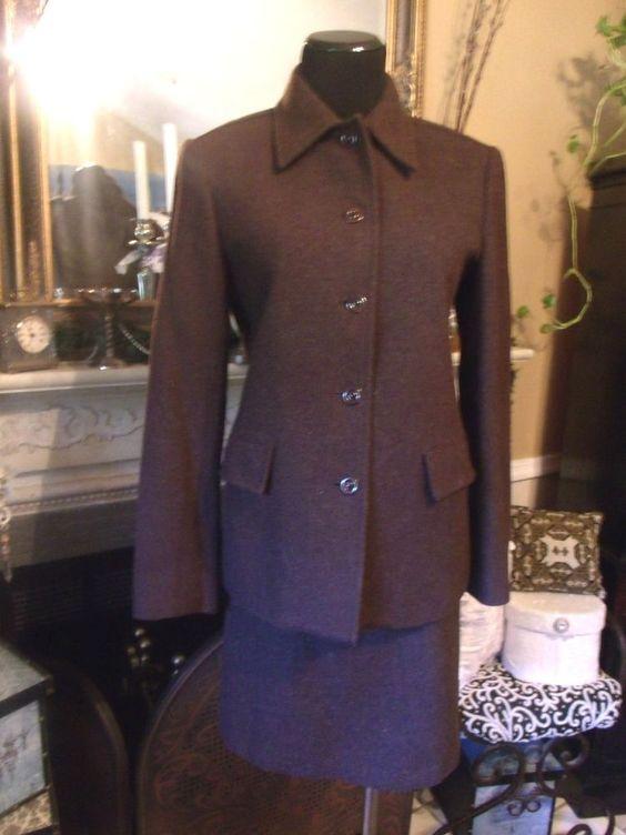 Gap Brown Wool Blend Skirt Suit JACKET SZ S  SKIRT SZ 4 #Gap #SkirtSuit