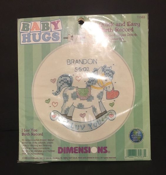 """Dimensions Baby Hugs 'I Luv You Birth Record' 6"""" Hoop Cross Stitch New/Unopened #Dimensions #Hoop"""
