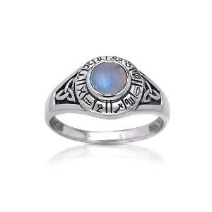 Zodiac Wheel Astrological Symbols Sterling Silver Celtic Knot and Rainbow Moonstone Ring $40