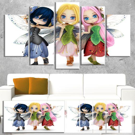 DESIGN ART Fairy Friends Posing Together - Portrait Painting Print
