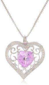 Sterling Silver Gemstone and Diamond Heart Pendant Necklace, 18""