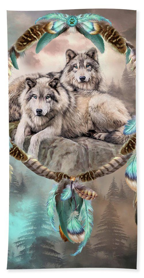 Dream Catcher Two Wolves Together Bath Towel For Sale By Carol Cavalaris Dream Catcher Art Wolf Spirit Animal Dream Catcher Drawing