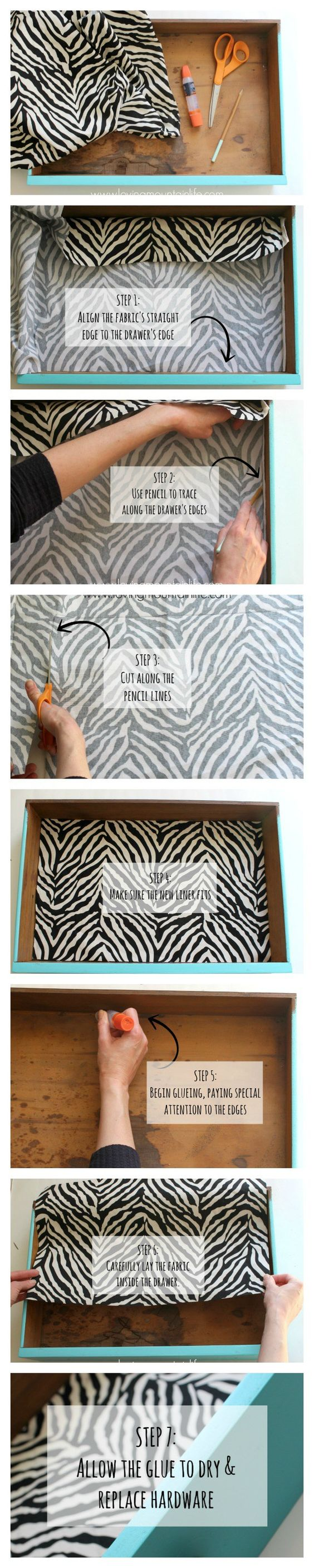Quick and Easy DIY Tutorial for a Fabric Lined Desk Drawer | Loving Mountain Life