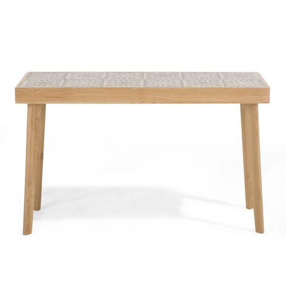 console en ch ne massif et plateau en carreau de ciment carrea consoles consoles tables d. Black Bedroom Furniture Sets. Home Design Ideas