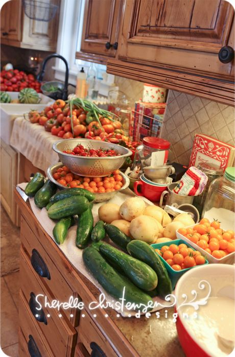 Fresh from the garden, ready to process.  Great instructions on canning tomatoes and recipes
