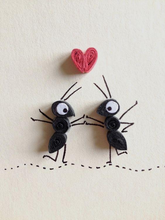 Carte de Saint Valentin, coeur rouge et noirs fourmis, Quilling, Art, insectes, carte vierge, Articles en papier, blanc rouge et noir: