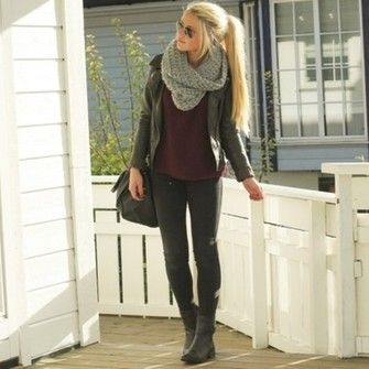 Leather Jacket Outfit , bordeaux shirt and grey scarf