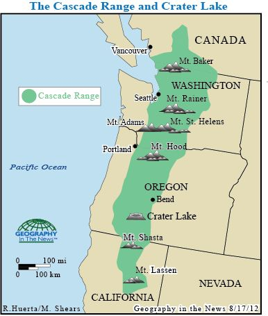 Cascades Mountains Map - Cascade range on us map