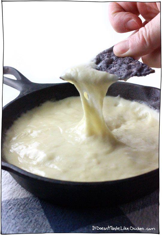 vegan-cheese-dip http://itdoesnttastelikechicken.com/2015/01/23/melty-stretchy-gooey-vegan-mozarella/