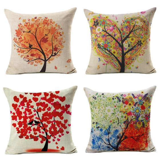Amazon.com: Colorful Autumn Flower Tree Fall Home Decor Throw Pillow Case Cushion Cover 18 x 18 Inch Cotton Linen,Set of 4: Home & Kitchen