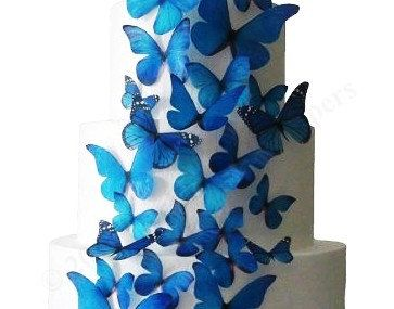 30 Edible Butterflies   Blue Large Assortment by incrEDIBLEtoppers, $24.00