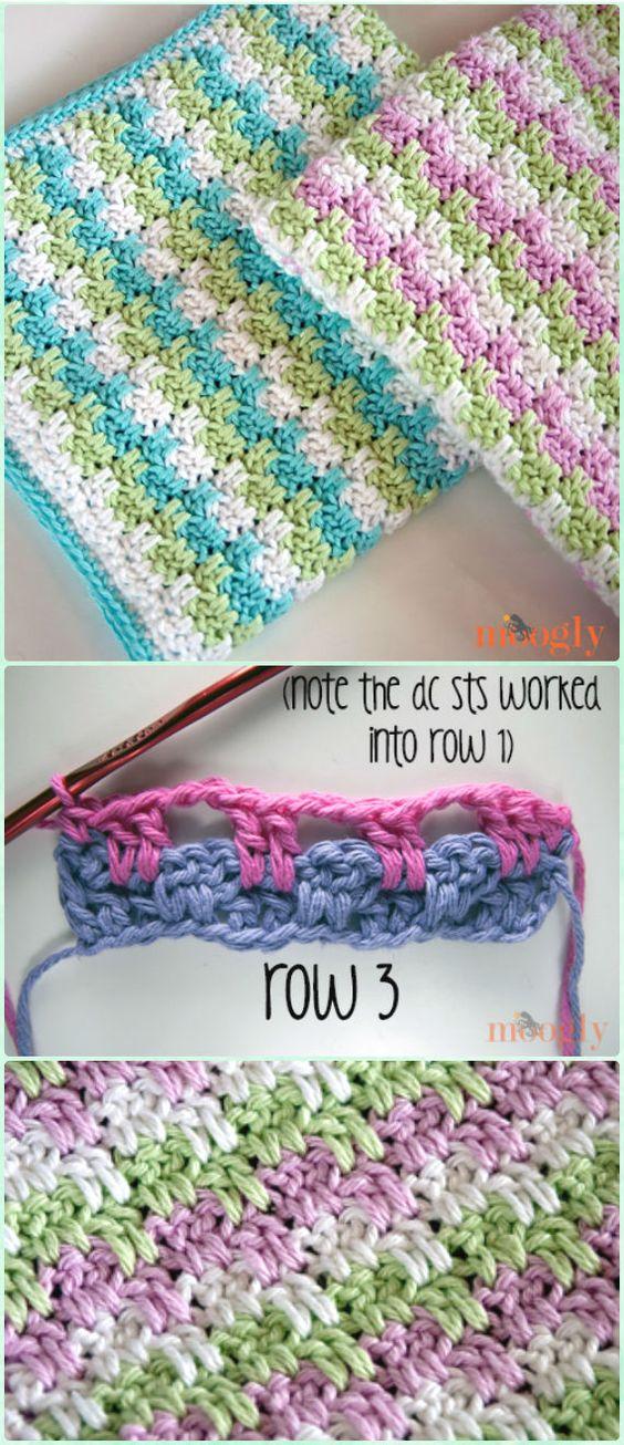 Crochet Leaping Stripes and Blocks Blanket Free Pattern - Crochet Block Blanket Free Patterns