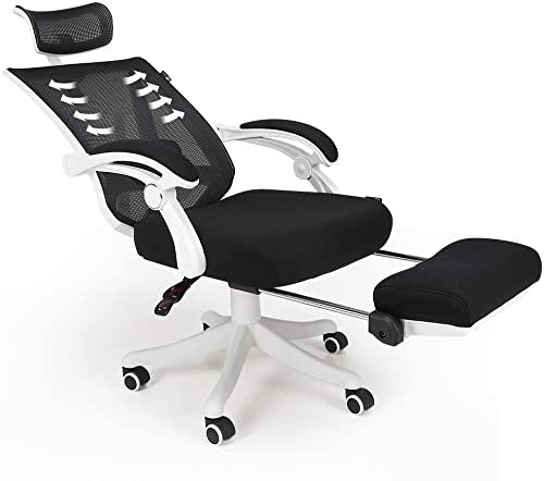 The Hbada Reclining Office Desk Chair Adjustable High Back Ergonomic Computer Mesh Recliner White Home Office Chairs Footrest Lumbar Support Online Shoppi In 2020 Reclining Office Chair Office Chair Home Office Chairs