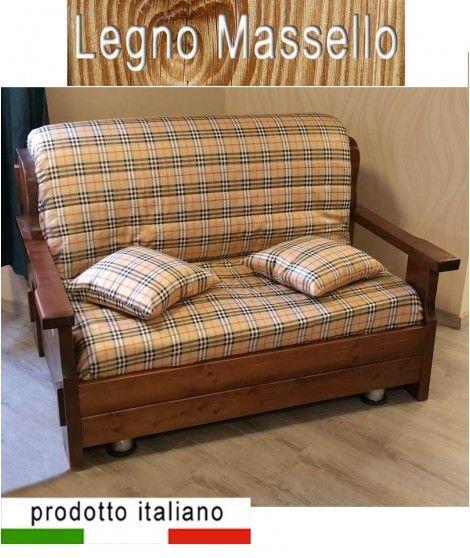 Prontoletto legno massello divano stile country arte povera ...
