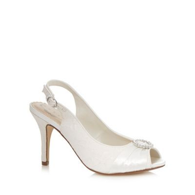 Debut Ivory jewel high wide fit court shoes- | Debenhams