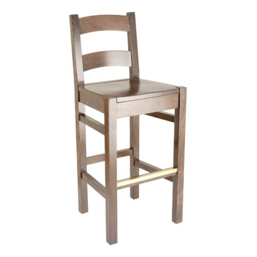Featuring a curved ladder back and solid wood seat, this bar stool's unique design combines comfort and durability.: Curved Ladder, Solid Wood, Bar Stools