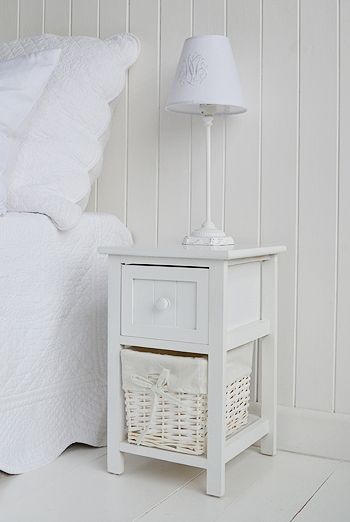 Bar Harbor Small Narrow White Childrens Bedside Table 25cm In 2020