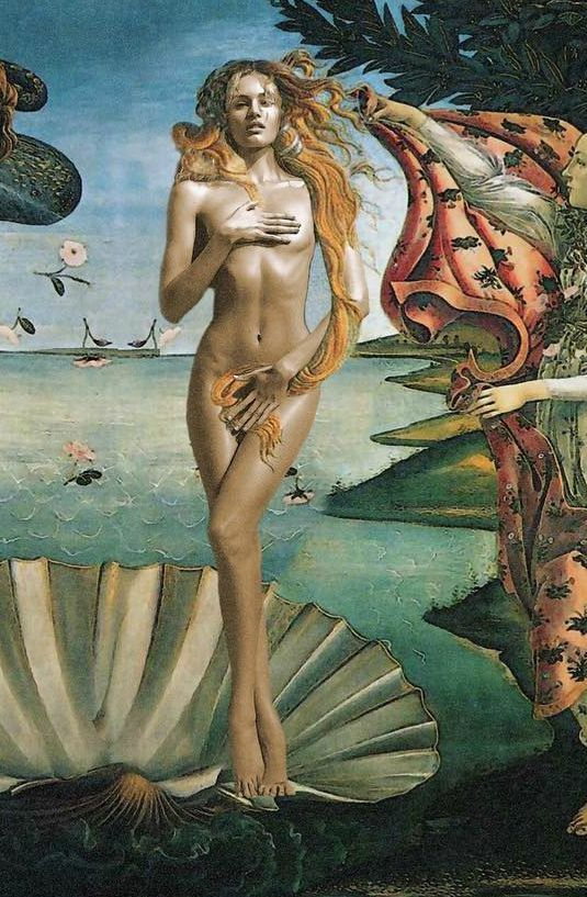"Candice Swanepoel photoshopped into Boticelli's ""Birth of Venus"""