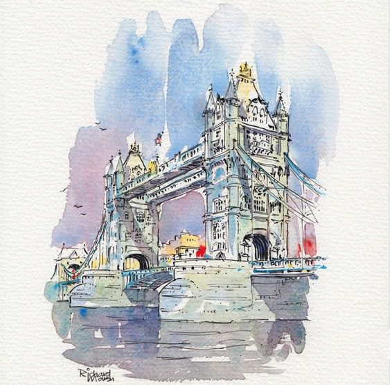 Tower Bridge London Original Watercolor Painting By Artist Carlin