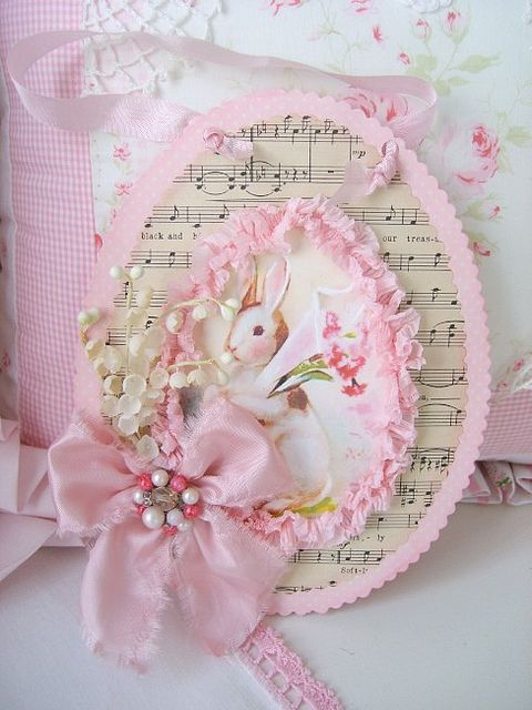 #handmade #Easter card - pink bunny, flowers and music http://www.mycraftkingdom.com