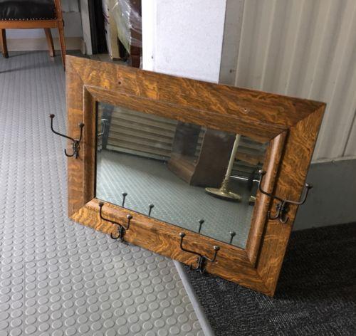 Antique Oak Beveled Saloon Wall Mirror With Coat Hat Hooks Rectangular Ebay Mirror Wall Mantle Mirror Oak