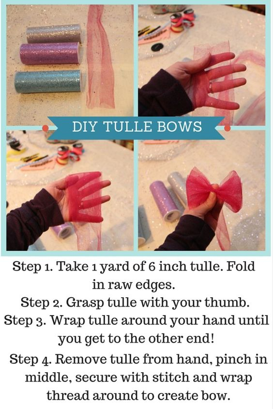 DIY Tulle bows for a Hair Bow Making Baby Shower! So cute and so easy!