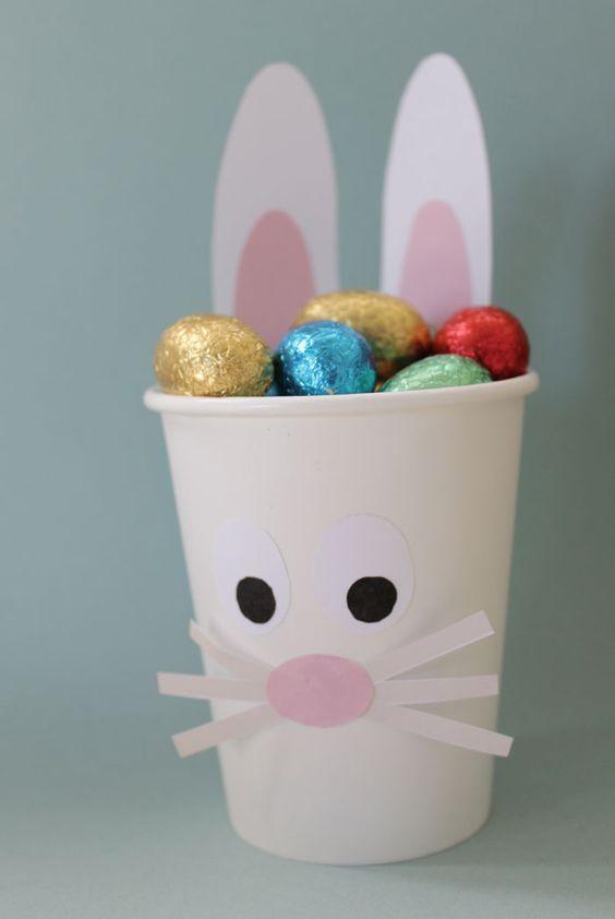 DIY: leuk idee met papieren bekertjes, maak er een konijntje van en vul ze met paaseieren. Klein cadeautje waar je ieder kind een plezier mee doet. Wil je een gezonde variant? Vul het bekertje dan met snack worteltjes!: