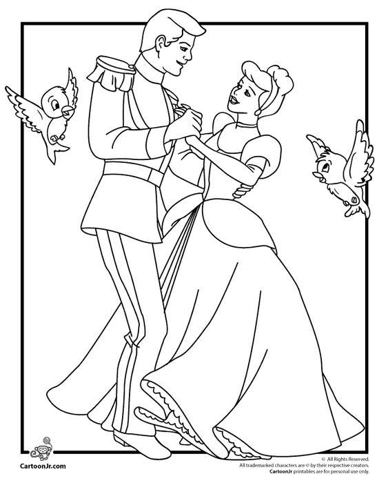 Disney Cendrillon Coloriage Pages Cendrillon et le Prince charmant-Coloriage-dessin animé Jr. 2899